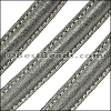 MINI Regaliz® Leather Oval SPARKLE STITCHED GREY - per 1 meter