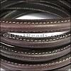 MINI Regaliz® Leather Oval STITCHED DARK BROWN - per 1 meter