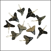 Florida Dark Shark Teeth - Gold Wired - 25 pcs
