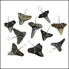 Florida Dark Shark Teeth - Silver Wired - 100 pcs