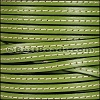 5mm flat STITCHED leather OLIVE GREEN - per 5 meters