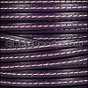 5mm flat STITCHED leather DEEP PURPLE - per 5 meters