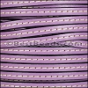 5mm flat STITCHED leather LILAC - per 5 meters