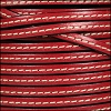 5mm flat STITCHED leather RED - per 5 meters