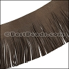 Suede Fringe Leather DARK BROWN - 16