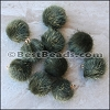 Fur Pompom OLIVE - per 10 pieces