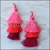 70mm TRIPLE TASSEL : RED - 2 pcs
