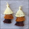 70mm TRIPLE TASSEL : BROWN - 2 pcs