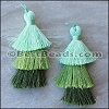 70mm TRIPLE TASSEL : GREEN - 2 pcs