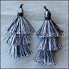 70mm TRIPLE TASSEL : BLACK & WHITE - 2 pcs