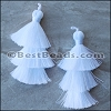 70mm TRIPLE TASSEL : WHITE - 2 pcs