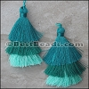 70mm TRIPLE TASSEL : TEAL - 2 pcs
