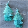 70mm TRIPLE TASSEL : PASTEL TEAL - 2 pcs