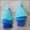 70mm TRIPLE TASSEL : TURQUOISE - per 2 pieces