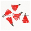 12mm SILVER : RED Tassel - per 10 pieces