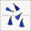 12mm SILVER : BLUE Tassel - per 10 pieces
