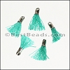 12mm SILVER : TEAL Tassel - per 10 pieces