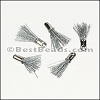 12mm SILVER : GREY Tassel - per 10 pieces