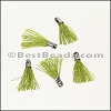12mm SILVER : OLIVE Tassel - per 10 pieces