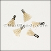 12mm SILVER : BEIGE Tassel - per 10 pieces