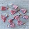 15mm RING : DUSTY PINK w GREY Tassel - per 10 pieces