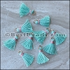 15mm RING : TEAL w PINK Tassel - per 10 pieces