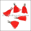 18mm SILVER : RED Tassel - per 10 pieces