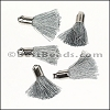 18mm SILVER : GREY Tassel - per 10 pieces