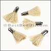 18mm SILVER : BEIGE Tassel - per 10 pieces