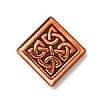 medium celtic diamond bead ANTIQUE COPPER