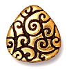 briolette scroll bead ANTIQUE GOLD