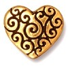 heart scroll bead ANTIQUE GOLD