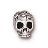 rose skull bead ANTIQUE SILVER