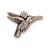 hummingbird charm ANTIQUE SILVER