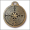 labyrinth charm ANTIQUE GOLD