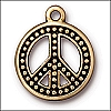 beaded peace charm ANTIQUE GOLD