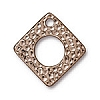 hammered square RHODIUM  - per 10 pcs