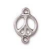 peace sign link RHODIUM  - per 10 pcs
