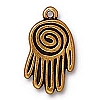 large spiral hand charm ANTIQUE GOLD