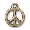 peace sign charm BRASS OXIDE