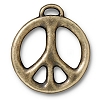 peace sign LG charm BRASS OXIDE