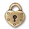 heart lock charm ANTIQUE GOLD