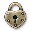 heart lock charm BRASS OXIDE