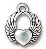 winged heart charm ANTIQUE SILVER
