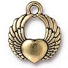 winged heart charm ANTIQUE GOLD
