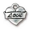love heart charm ANTIQUE SILVER