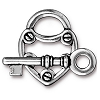 lock and key toggle clasp ANTIQUE SILVER