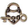 lock and key toggle clasp BRASS OXIDE