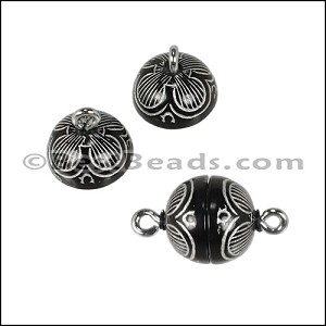 ACRYLIC BEADING magnetic clasp 10mm FLOWER BLACK/SILVER - per 10 pieces