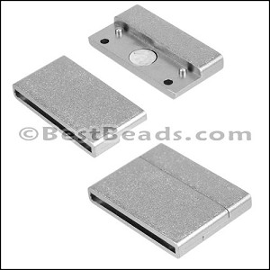 30mm flat ACRYLIC magnet PEWTER - per 10 clasps